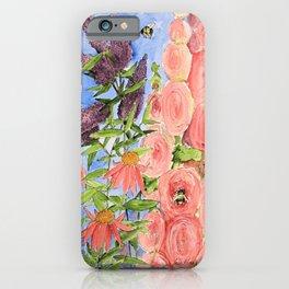 Cottage Garden Butterfly Bush Watercolor Illustration iPhone Case