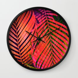 COLORFUL TROPICAL LEAVES no2 Wall Clock