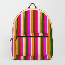 Beige, Fuchsia, Red, Dark Green, and Dark Orange Colored Lines/Stripes Pattern Backpack