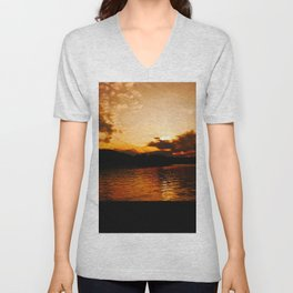 Foys Lake Montana at Sunset, Water Reflection, Neutral Colors Unisex V-Neck
