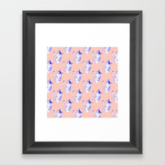 Neon cat in peach Framed Art Print