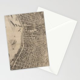 Vintage Pictorial Map of Evansville Indiana (1880) Stationery Cards