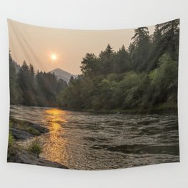 Fire Sunrise on McKenzie River Wall Tapestry