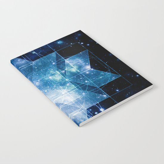 galaxy sacred geometry Turquoise Teal Notebook