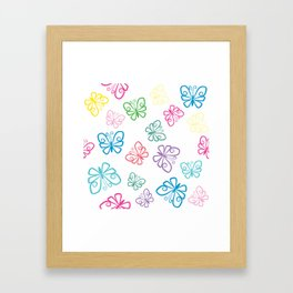 Large Scale, I Love Butterflies White Background Large Framed Art Print