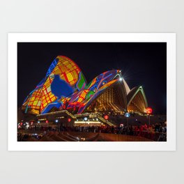 Designs projected on the roofs of Opera House. Art Print