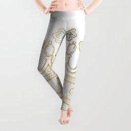 Gold Shiny Crown Leggings