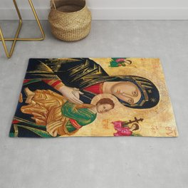 Our Lady Of Perpetual Help Virgin Mary Painting Rug