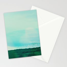 Astract Modern Landscape Wall Art Green and Blue Color Block Stationery Cards