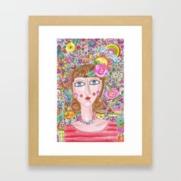 Woman with her things Framed Art Print