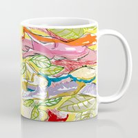 nudes Mugs featuring Female Nudes With Leaves by Klaus med k