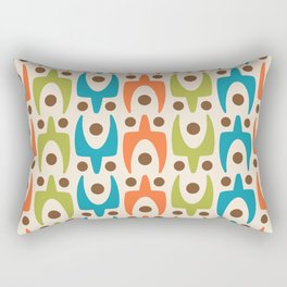 Mid Century Modern Abstract Pattern 441 Orange Chartreuse and Turquoise Rectangular Pillow