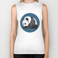 pandas Biker Tanks featuring Pandas by Diana Hope