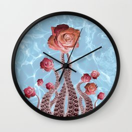 Octopus Tentacles and Roses in Water Surreal Print Wall Clock