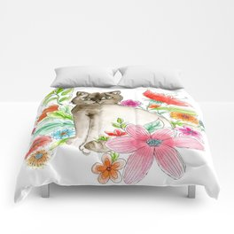Cat and flowers Comforters