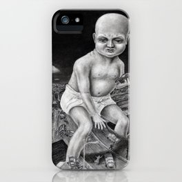Attack of the Giant Baby - charcoal drawing iPhone Case