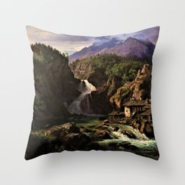Waterfall in an Italian Mountainous Landscape by Eduard Agricola Throw Pillow