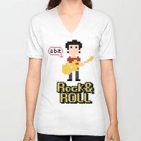8bit V-neck T-shirts featuring 8bit by ulas okuyucu