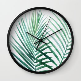 Emerald Palm Fronds Watercolor Wall Clock