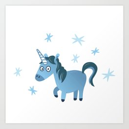 Blue unicorn illustration, Lost in stars Art Print