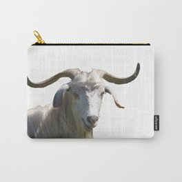 Portrait of a Horned Goat Grazing Vector Carry-All Pouch