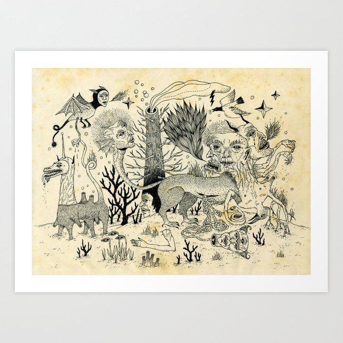 Grotesque Flora And Fauna Art Print By Jonmacnair Society6