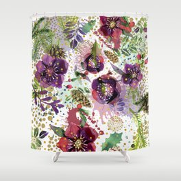 Abstract plants and flowers Shower Curtain