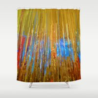 cityscape Shower Curtains featuring Cityscape by Kaos and Kookies