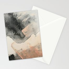Peace and Quiet [2]: a pretty, minimal abstract piece in gray and peach by Alyssa Hamilton Art Stationery Cards