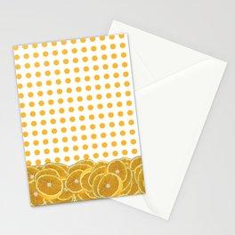 Orange polkadot wrap around with orange fruit slices Stationery Cards