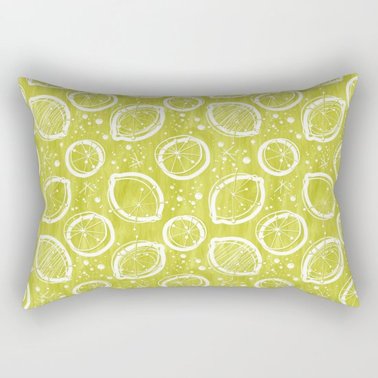 Atomic Lemonade_Green and White Rectangular Pillow