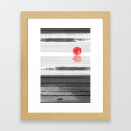 Red Moon at the Beach Framed Art Print