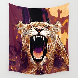 african lioness safari cat v2 vector art late sunset Wall Tapestry