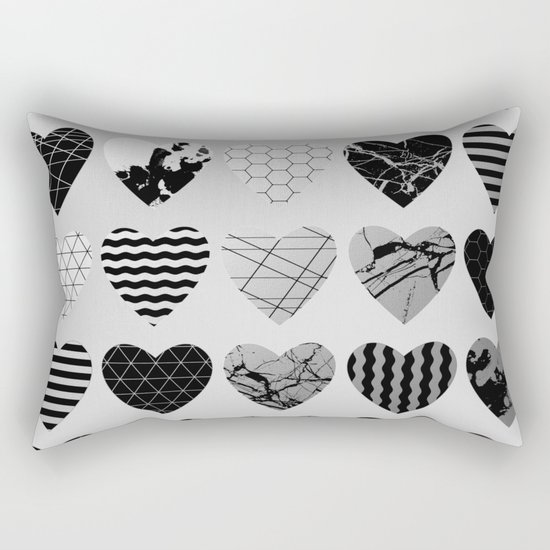 Metallic Love - Hexagon, stripes, triangles, geometric, marble, paint splat hearts! Rectangular Pillow