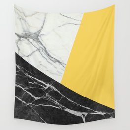 Black and White Marble with Pantone Primrose Yellow Wall Tapestry