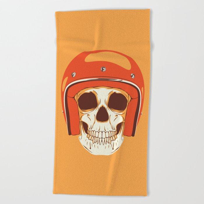 Helmet Skull Beach Towel