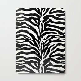 Wild Animal Print, Zebra in Black and White Metal Print