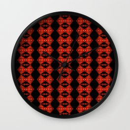 Red Christmas Stripe Pattern Wall Clock