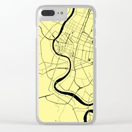 Bangkok Thailand Minimal Street Map - Pastel Yellow and Black Clear iPhone Case