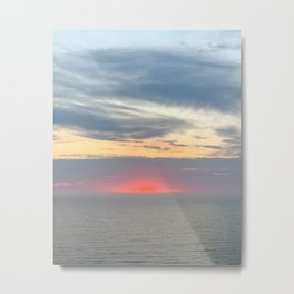 Red Sun, Sunset Over Pacific Ocean, Daly City, California by Christie Olstad Metal Print