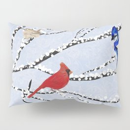 Winter Birds Southwest Virginia on Snow Covered Tree Limbs Pillow Sham