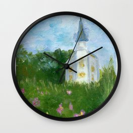 Little white country church Wall Clock
