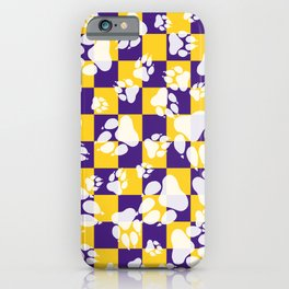 Tiger Claws on Purple and Gold Checker Pattern Digital Design iPhone Case