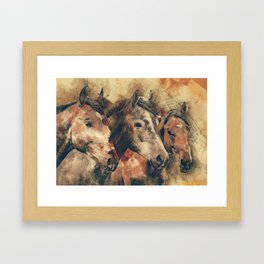 Three brown horses watercolor painting Framed Art Print