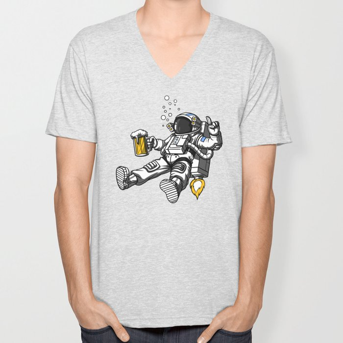 Astronaut Drinking Beer Space Party Unisex V-Neck
