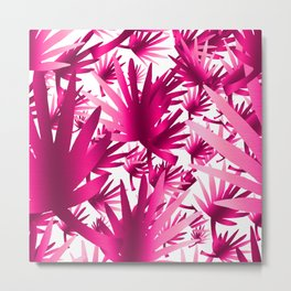 Modern tropical pink fuchsia leaves floral Metal Print