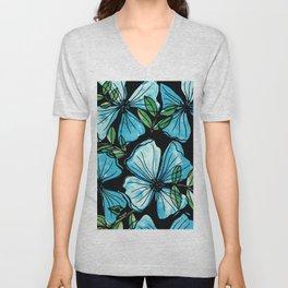 Blue flowers romantic garden Unisex V-Neck