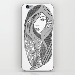 zentangle portrait 3 iPhone Skin