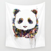 panda Wall Tapestries featuring panda by ururuty