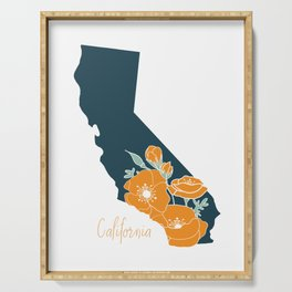 California State Flower Poppy Silhouette Floral Serving Tray